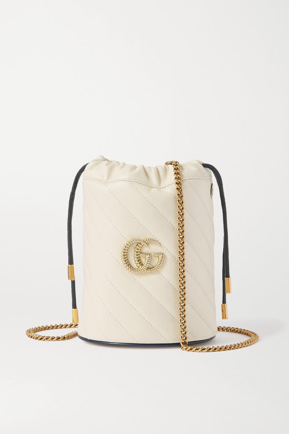 Gucci GG Marmont 绗缝皮革水桶包