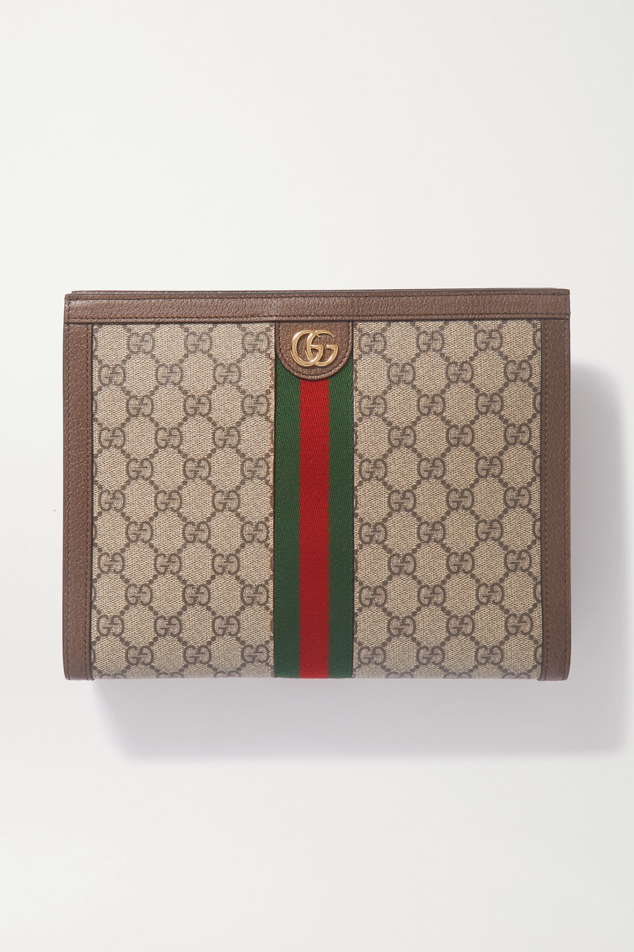 Gucci Ophidia textured leather-trimmed printed coated-canvas pouch