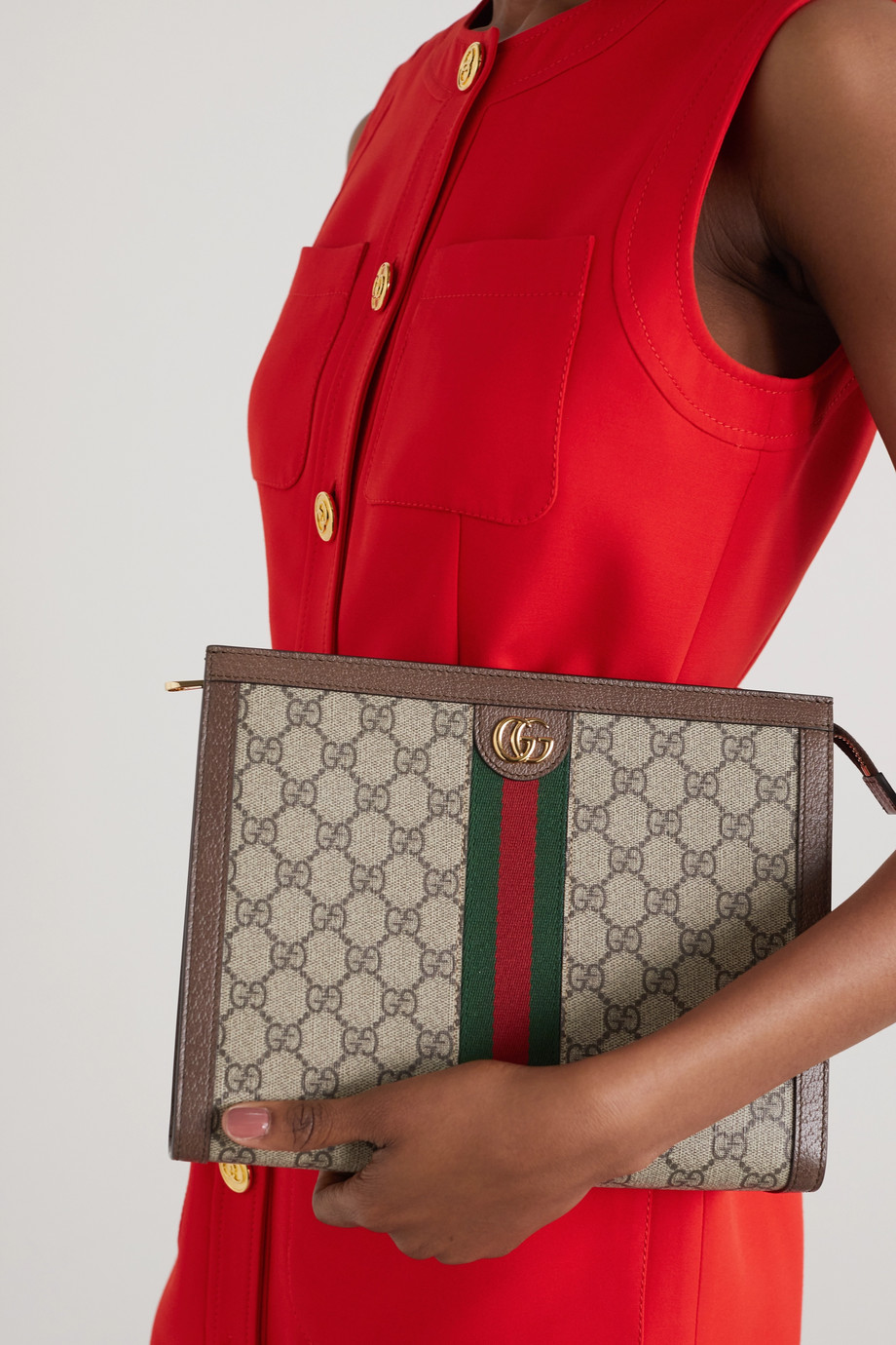 Gucci Ophidia 纹理皮革边饰印花涂层帆布小袋