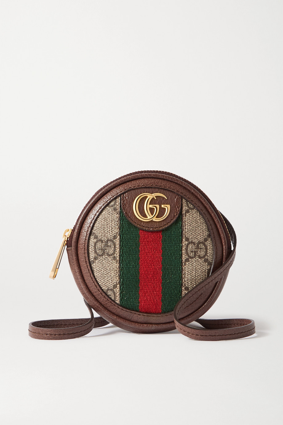 Gucci Ophidia Circle mini textured leather-trimmed printed coated-canvas shoulder bag