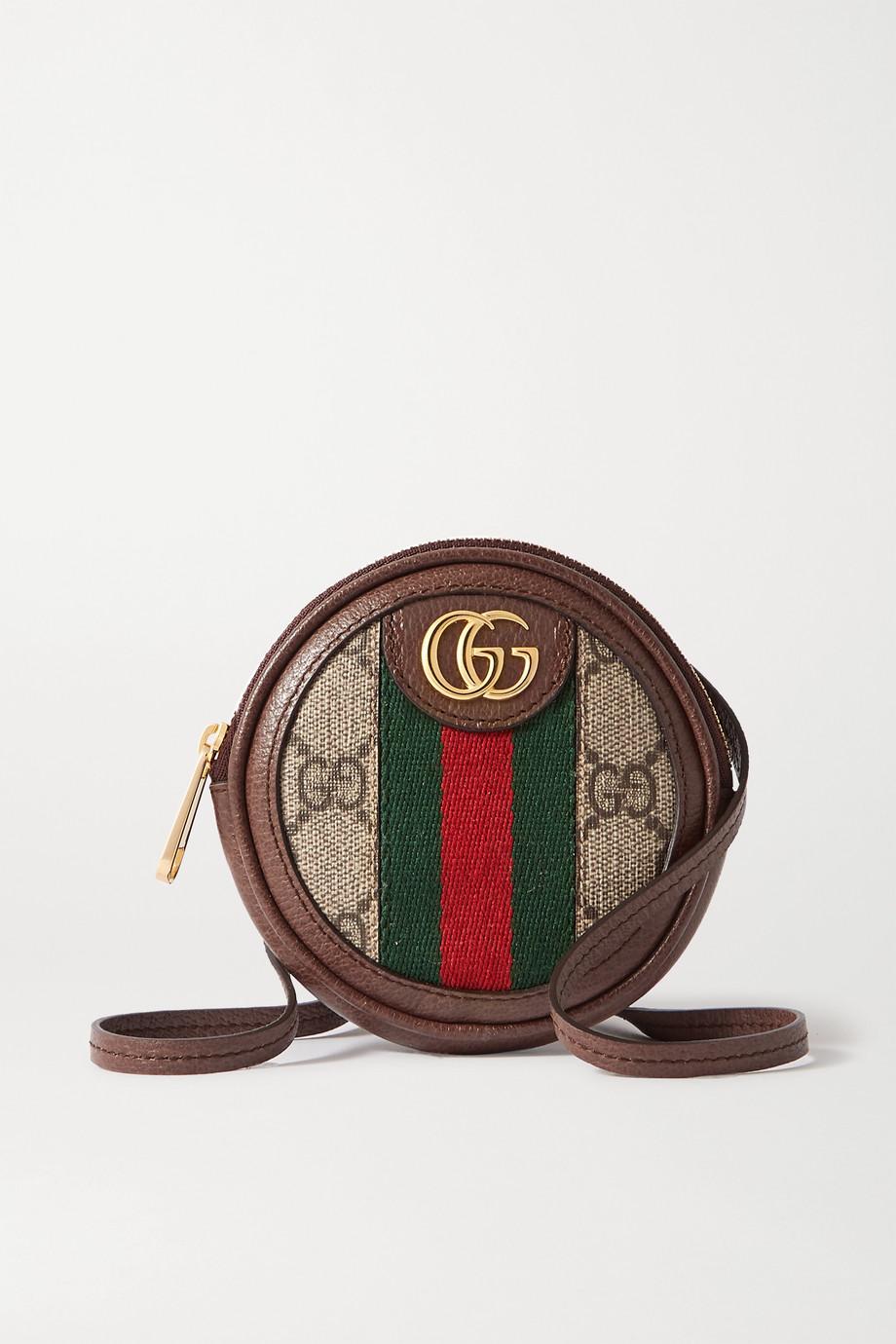 Gucci Ophidia Circle 纹理皮革边饰印花涂层帆布迷你单肩包