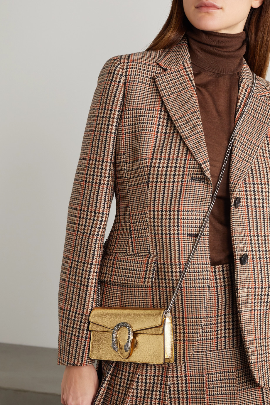 Gucci Dionysus 金属感皮革超迷你单肩包