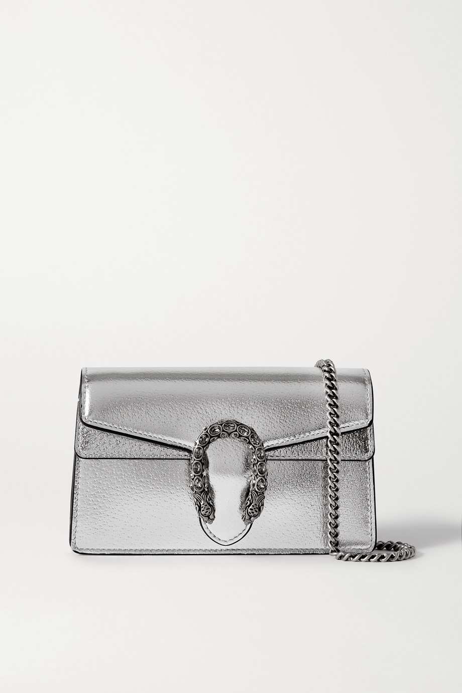Gucci Dionysus super mini Schultertasche aus Metallic-Leder