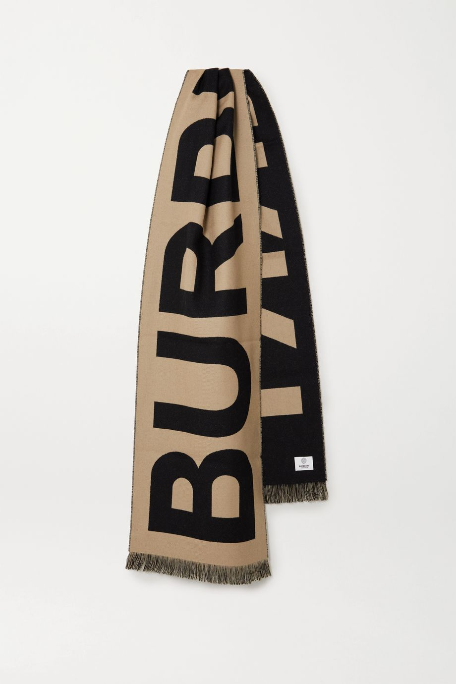 Burberry Frayed wool-jacquard scarf