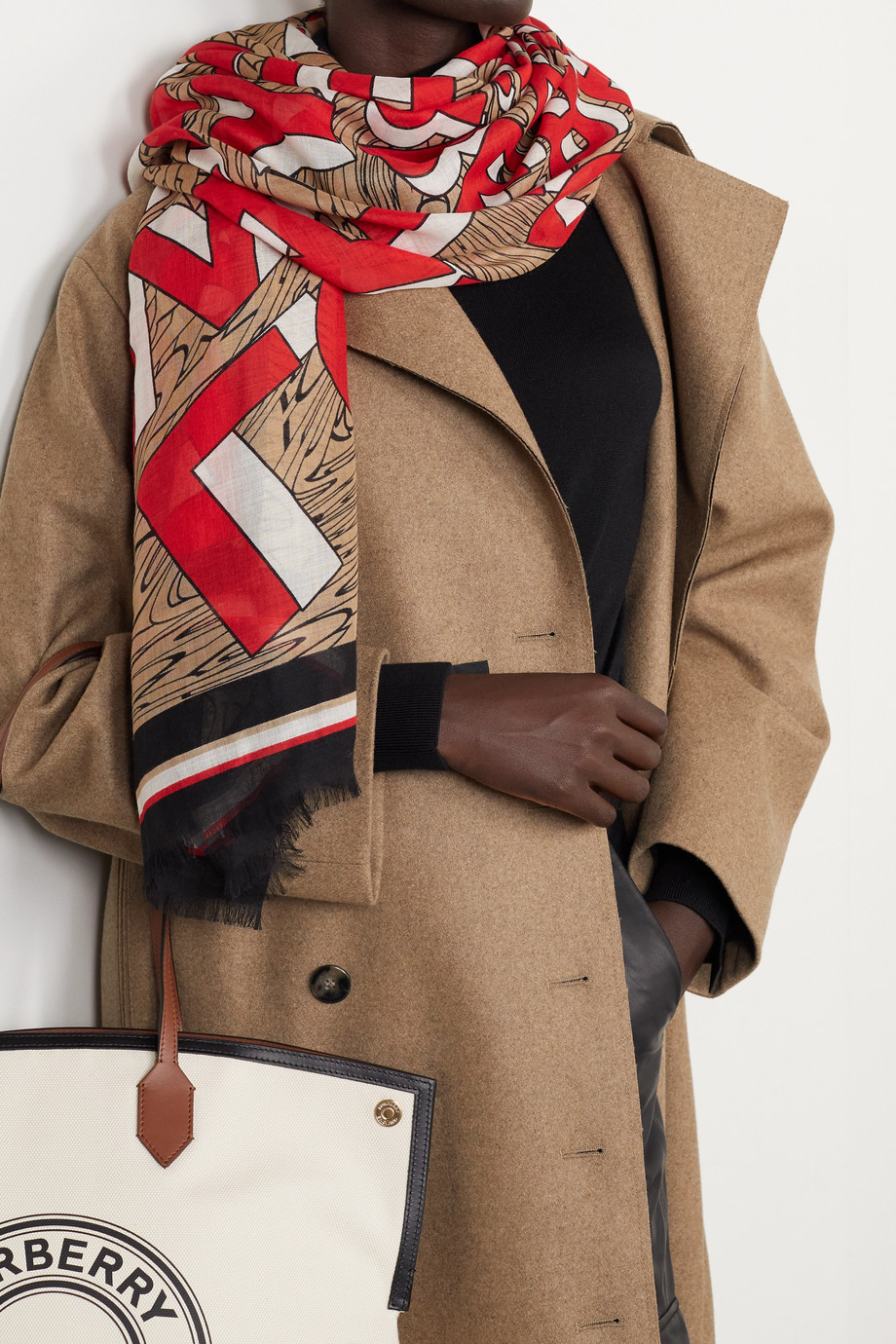 Burberry Frayed printed silk and wool-blend gauze scarf