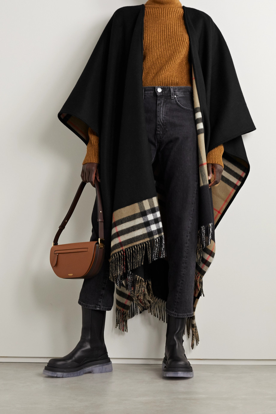 Burberry Reversible fringed checked cashmere and merino wool-blend cape