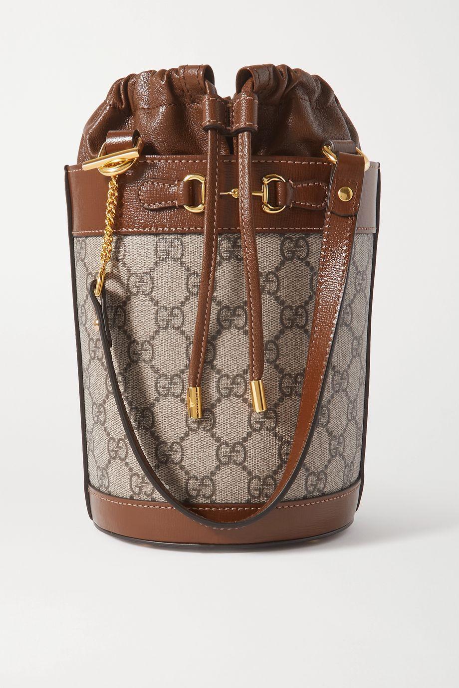 Gucci 1955 Horsebit 皮革边饰印花涂层帆布水桶包