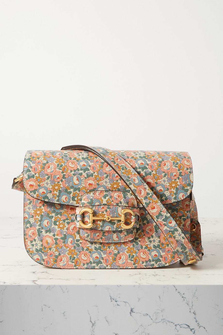 Gucci 1955 Horsebit small floral-print textured-leather shoulder bag