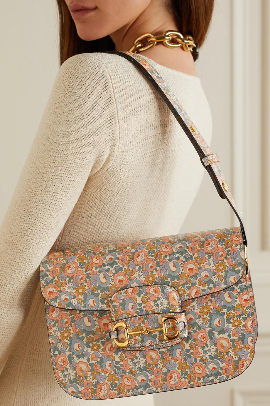 Gucci 1955 Horsebit 花卉印花纹理皮革小号单肩包