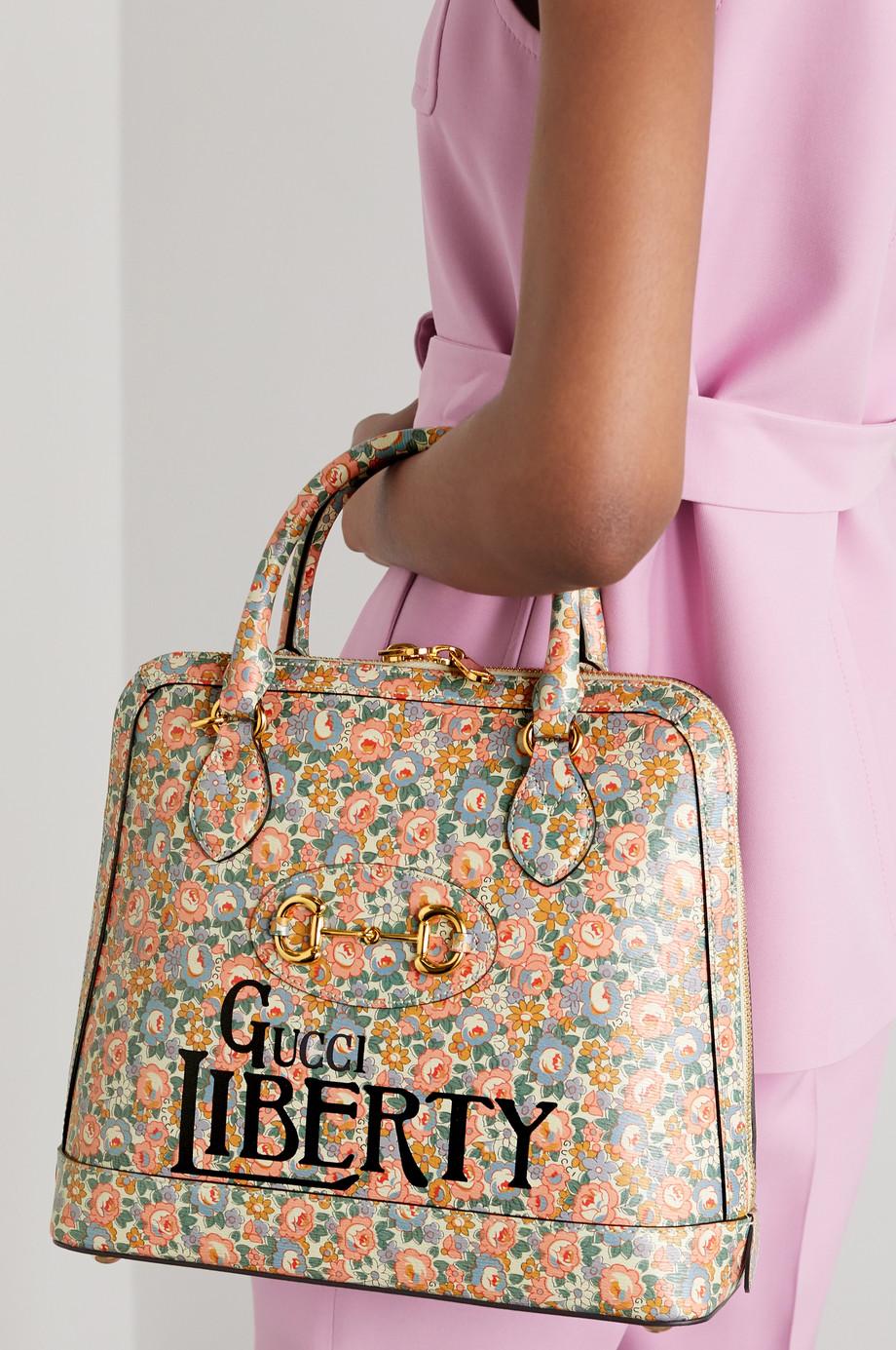 Gucci + Liberty 1955 Tote aus Leder mit Blumenprint und Horsebit-Detail
