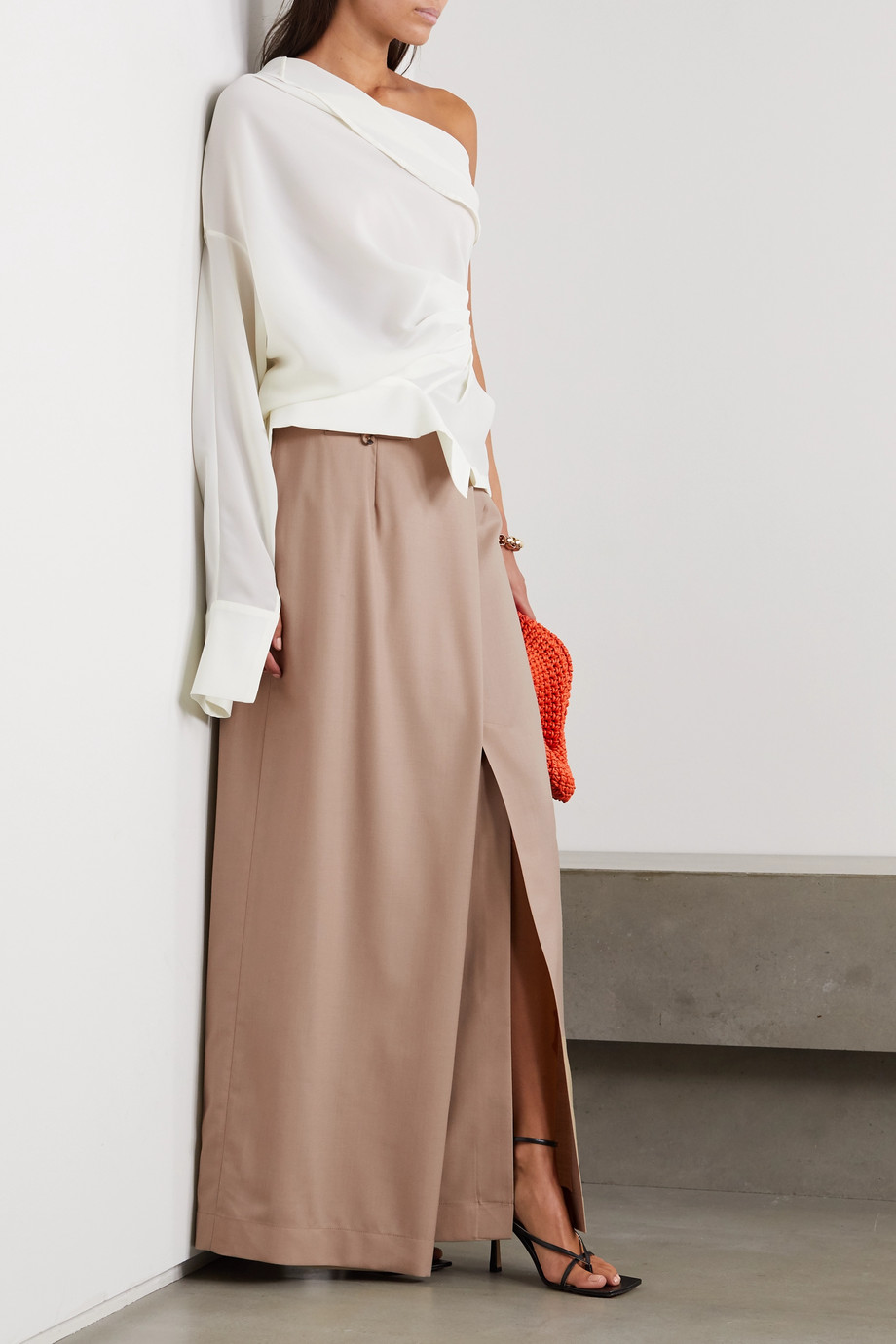 A.W.A.K.E. MODE Draped asymmetric wool maxi skirt