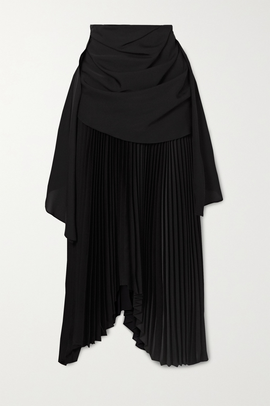 A.W.A.K.E. MODE Asymmetric draped pleated chiffon and crepe midi skirt