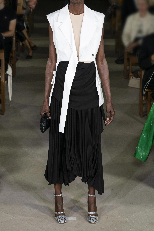 Black Asymmetric Draped Pleated Chiffon And Crepe Midi Skirt | A.w.a.k.e. Mode