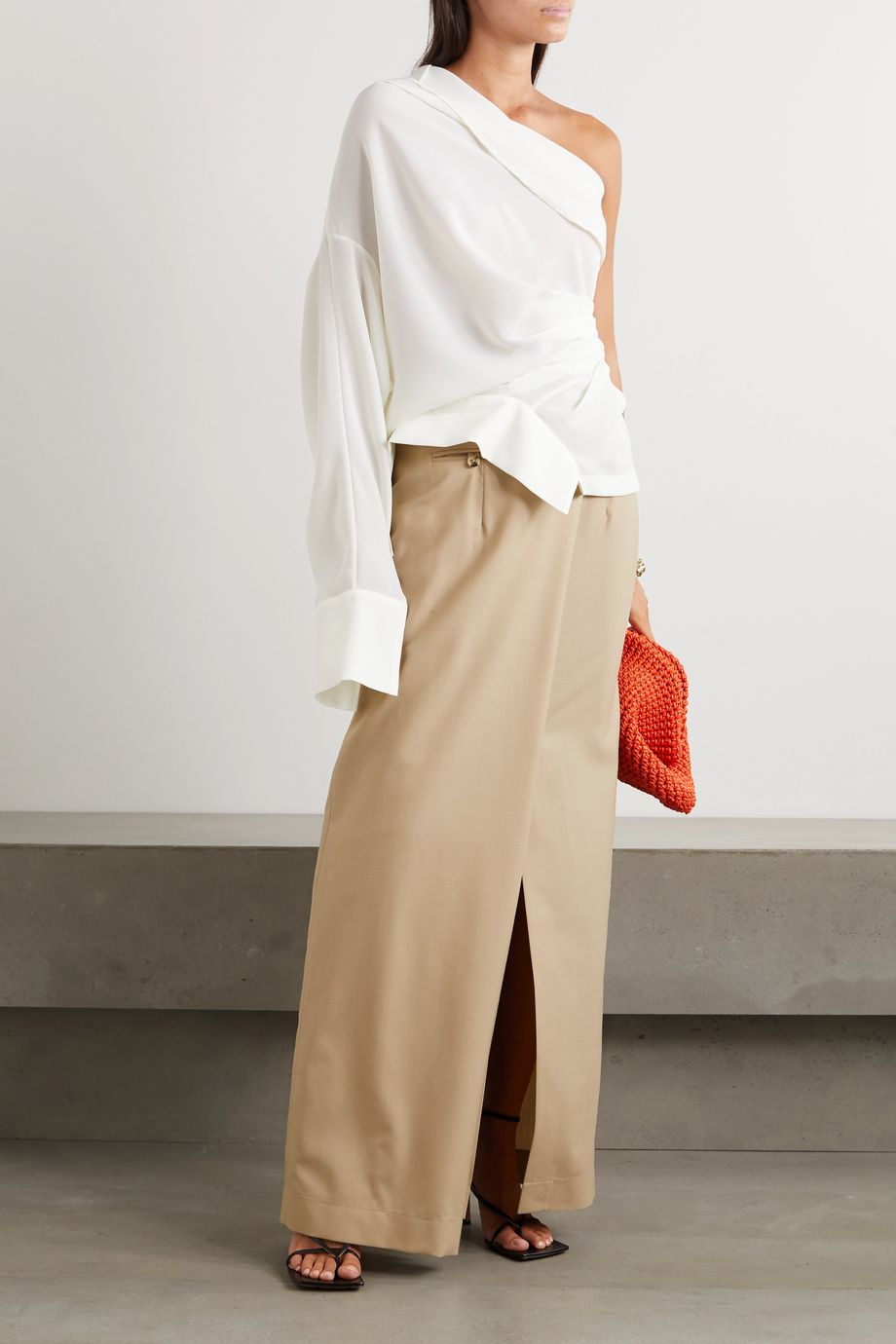 A.W.A.K.E. MODE One-shoulder draped chiffon blouse