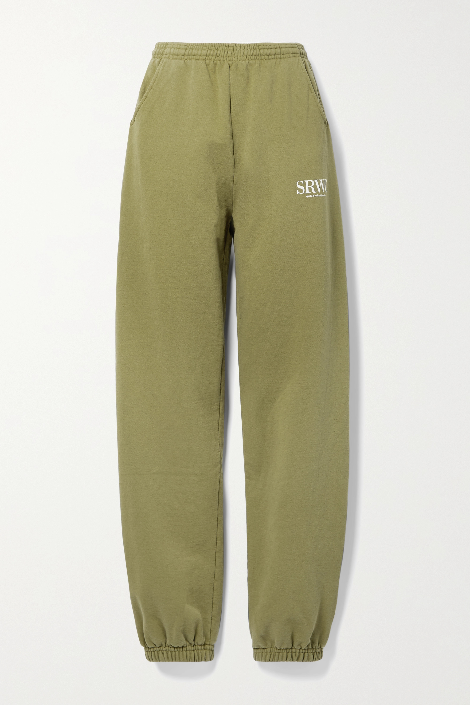Sporty & Rich Upper East Side printed cotton-jersey track pants