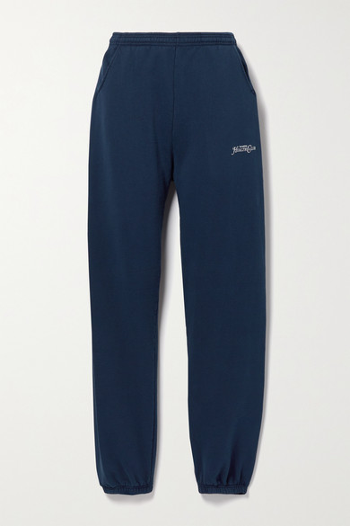 Sporty And Rich Rizzoli Printed Cotton-jersey Track Pants In Navy