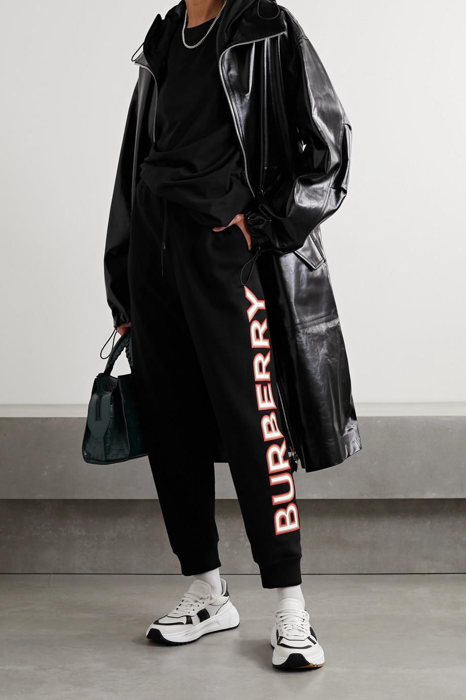 Burberry Appliquéd cotton-jersey track pants
