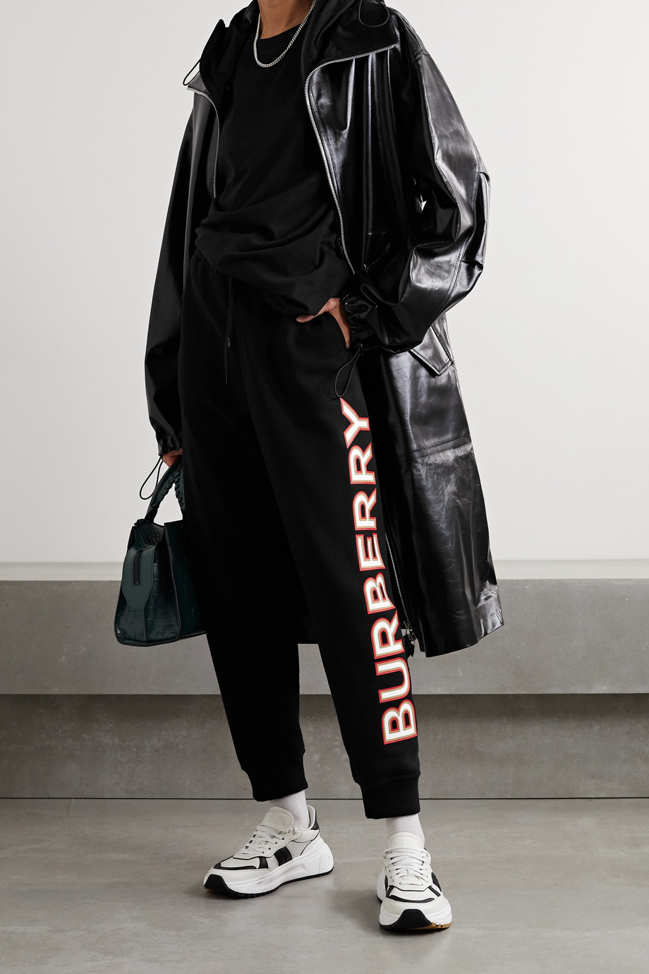 Burberry 贴花纯棉平纹布休闲裤