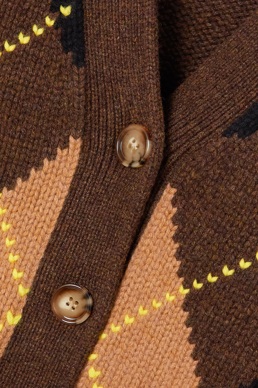 Burberry Oversized-Cardigan aus einer Woll-Kaschmirmischung mit Argyle-Muster und Cut-outs