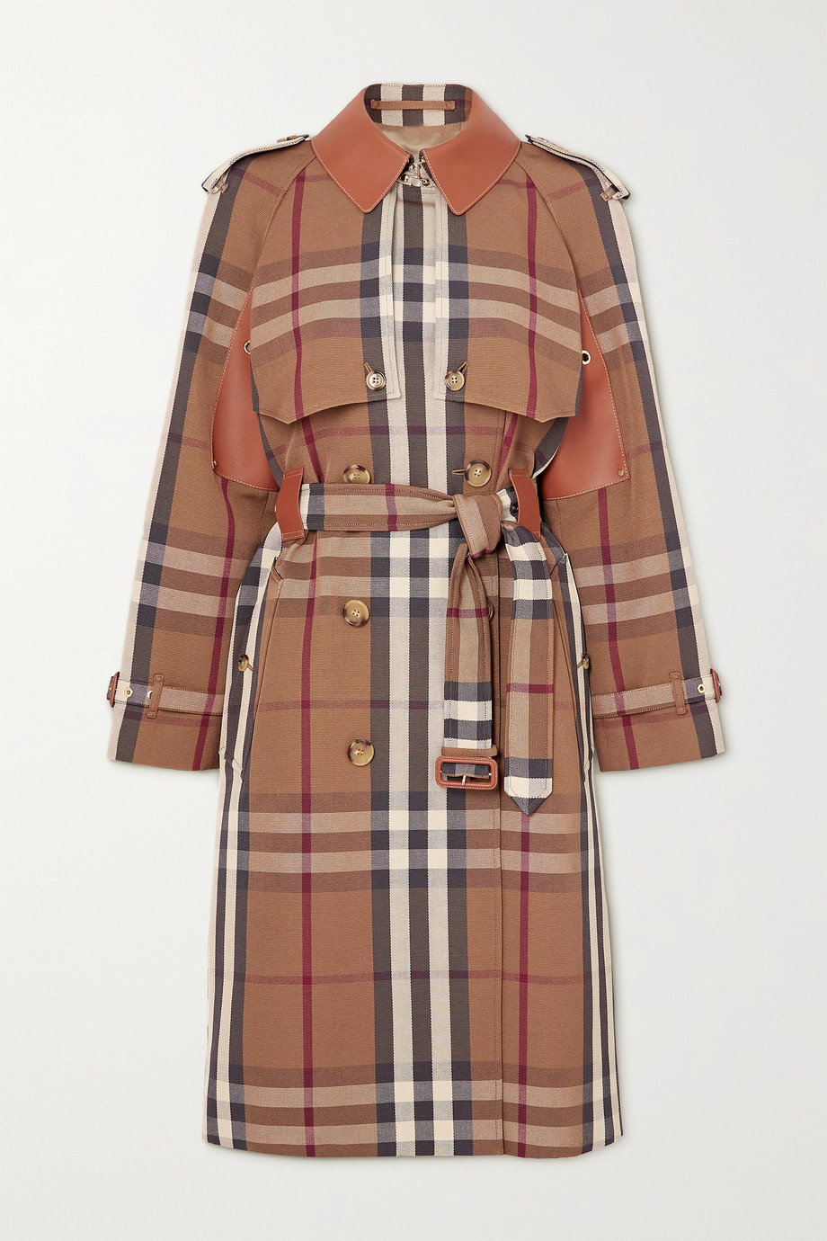 Burberry Double-breasted checked gabardine and leather trench coat