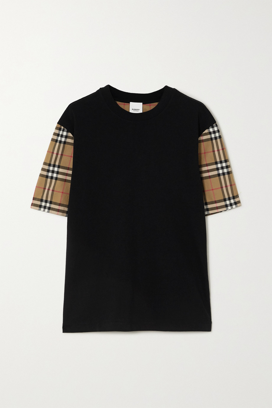 Burberry Checked poplin and cotton-jersey T-shirt