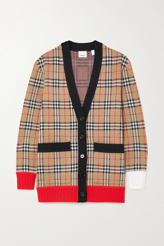 Burberry Cardigan en laine mérinos mélangée à carreaux