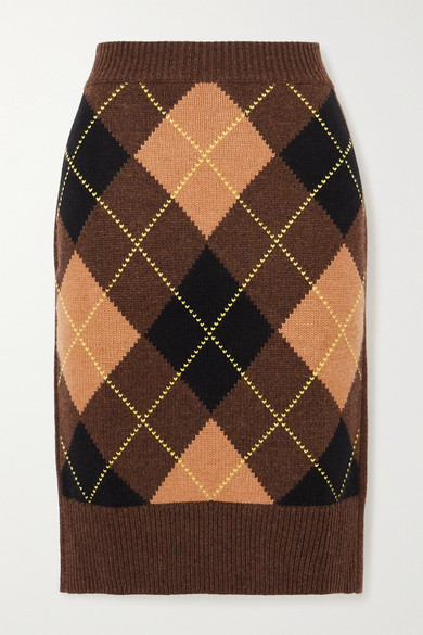 Burberry - Ayla Argyle Wool And Cashmere-blend Skirt - Brown