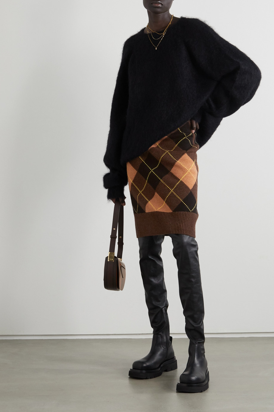 Burberry Ayla argyle wool and cashmere-blend skirt