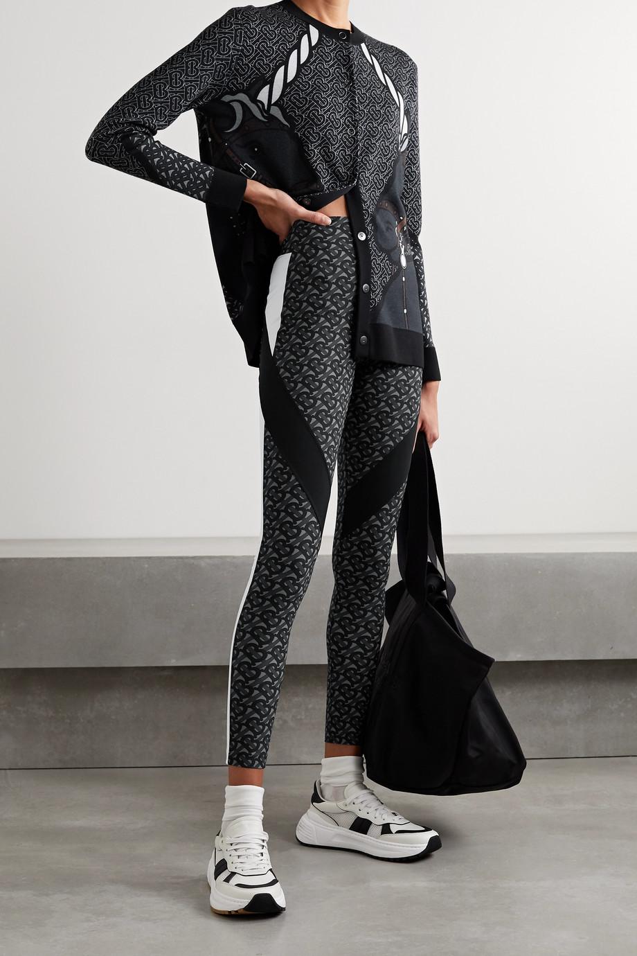 Burberry Paneled printed stretch leggings