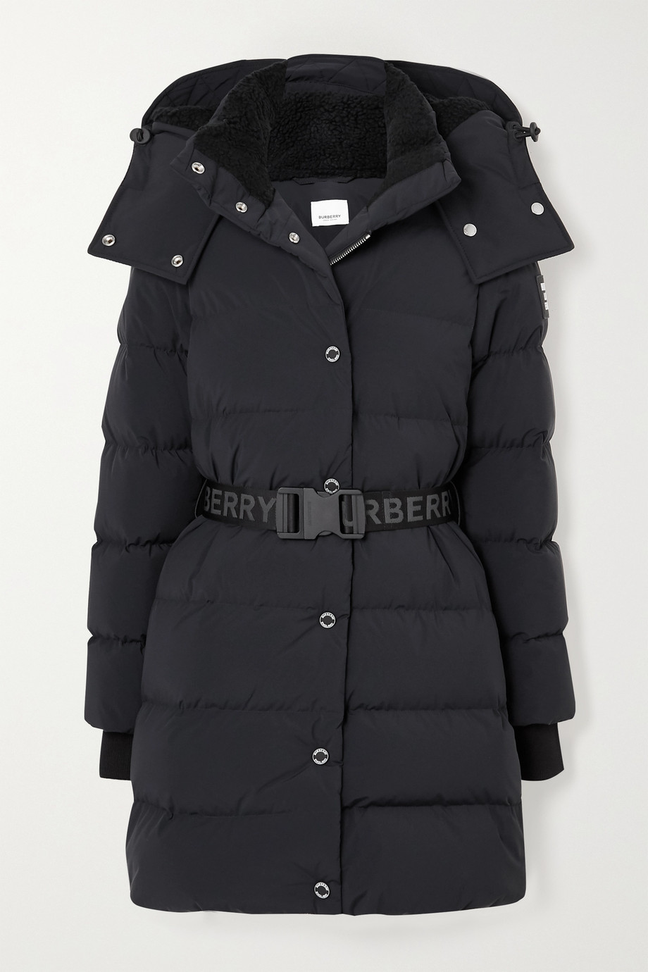 Burberry + NET SUSTAIN belted hooded quilted shell down coat