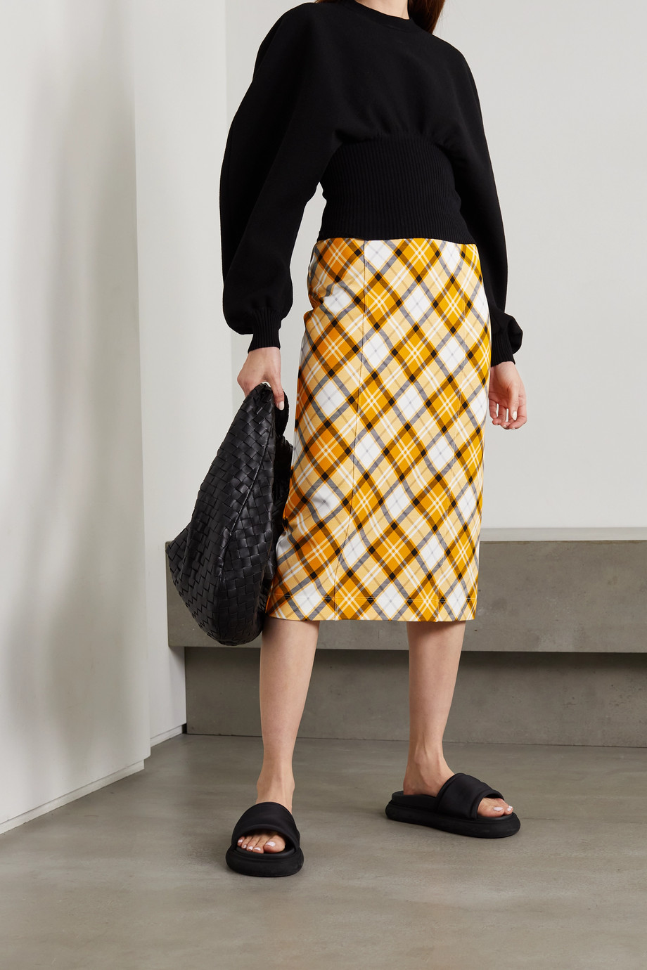 Burberry Checked stretch-jersey skirt