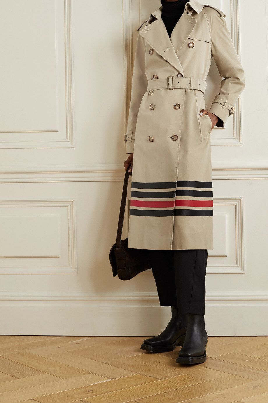Burberry Striped cotton-gabardine trench coat