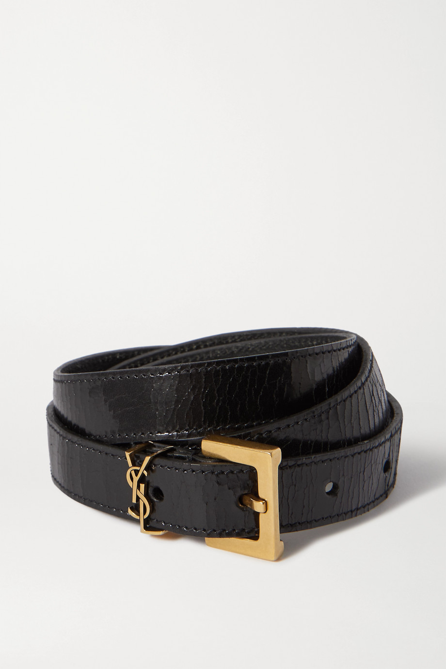 SAINT LAURENT Embellished crinkled glossed-leather belt
