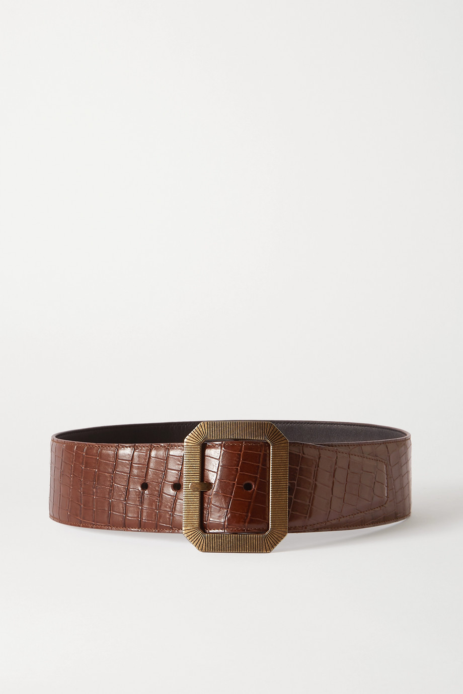 SAINT LAURENT Croc-effect leather waist belt