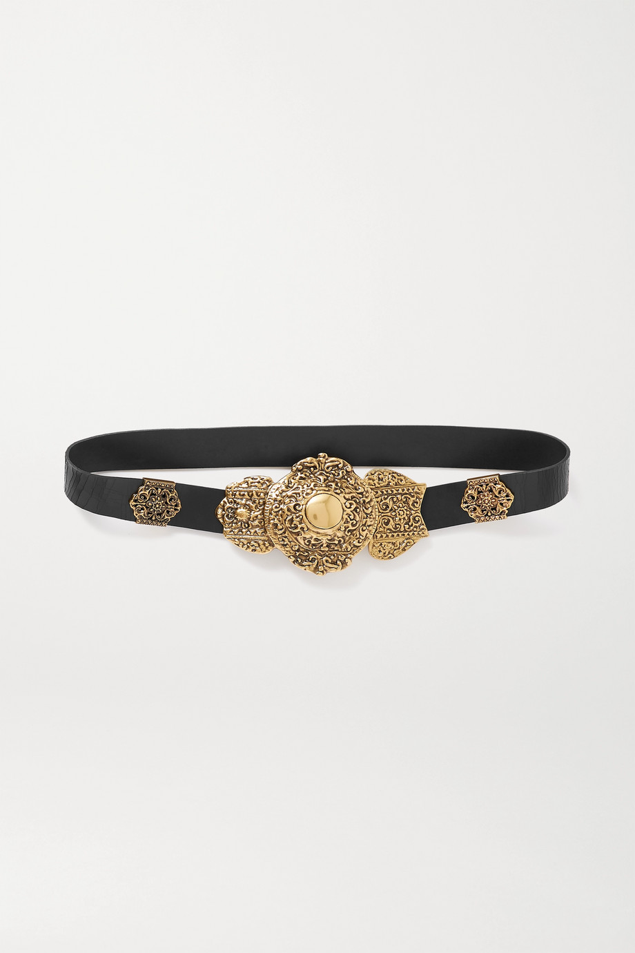SAINT LAURENT Crinkled glossed-leather belt