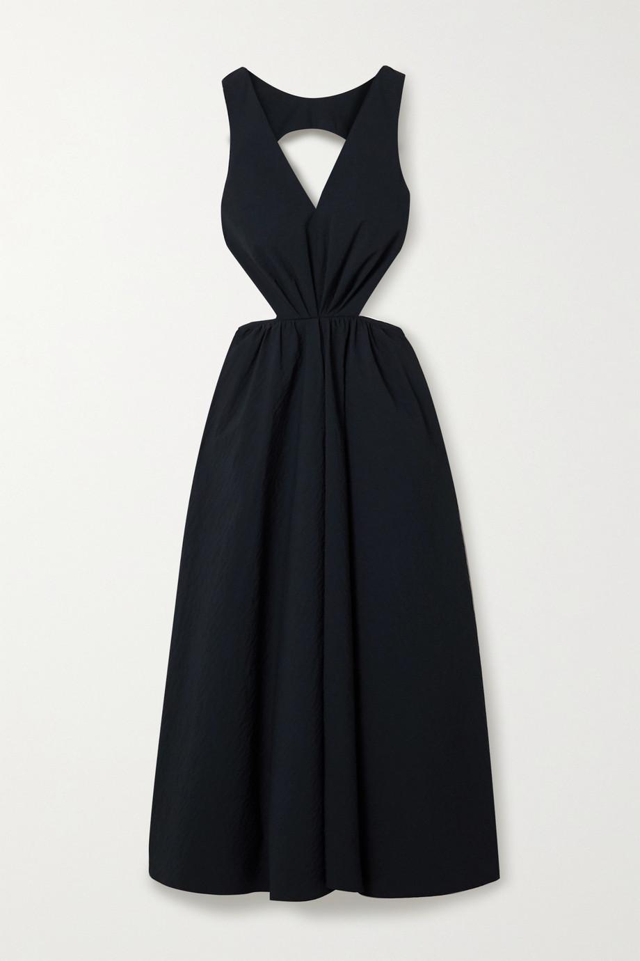 Deveaux Madelyn cutout seersucker dress
