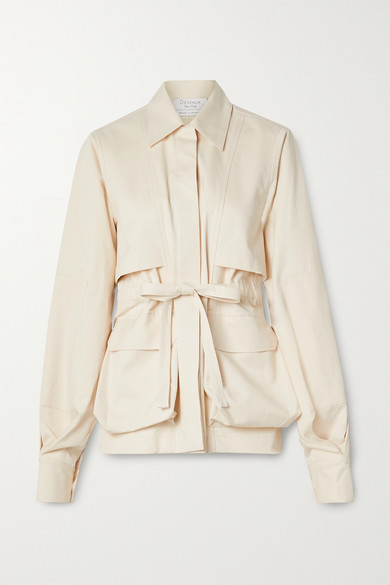 Deveaux - Belted Cotton-twill Jacket - Cream