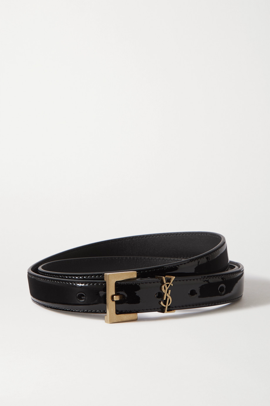 SAINT LAURENT Monogramme glossed-leather belt