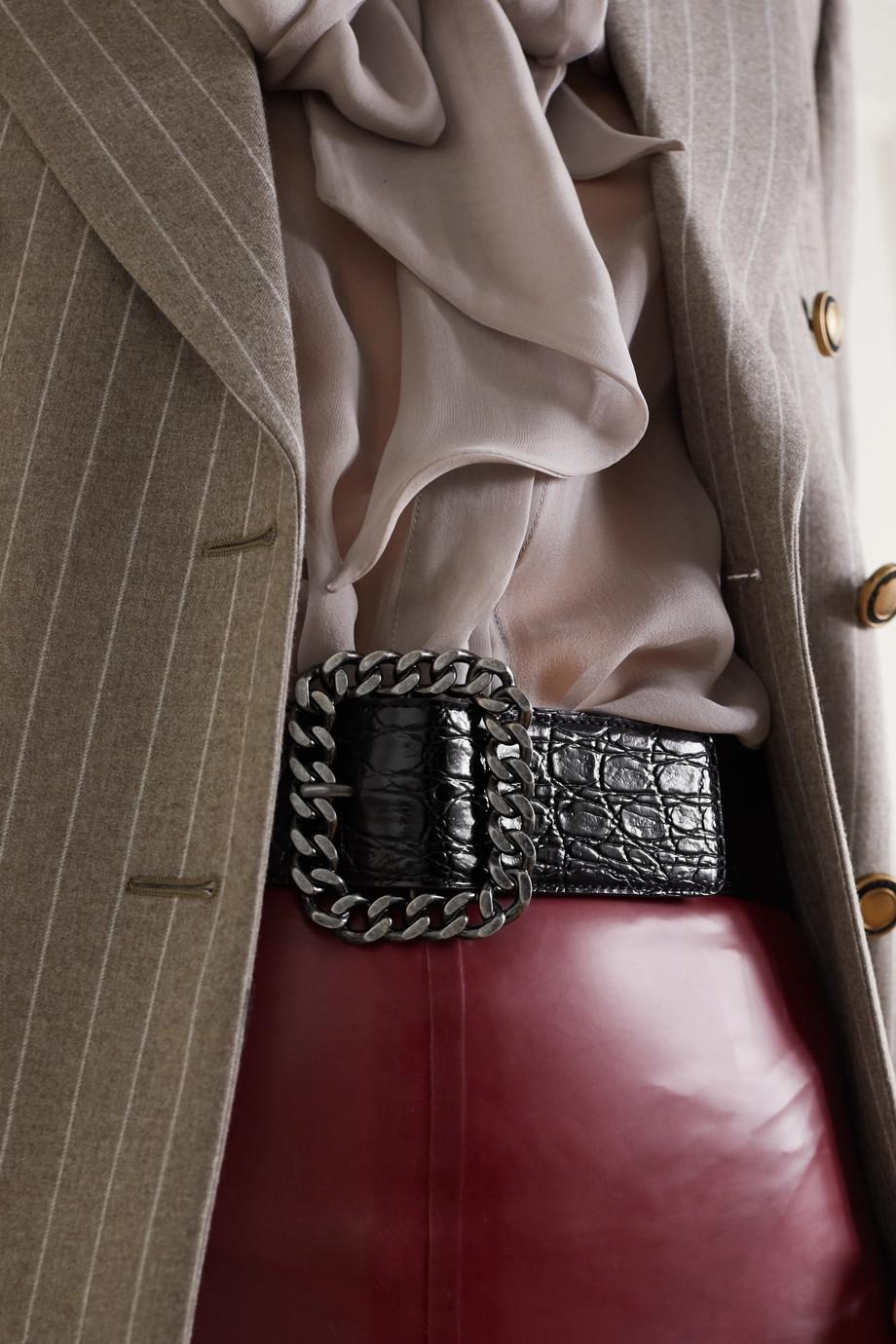 SAINT LAURENT Taillengürtel aus Leder mit Krokodileffekt