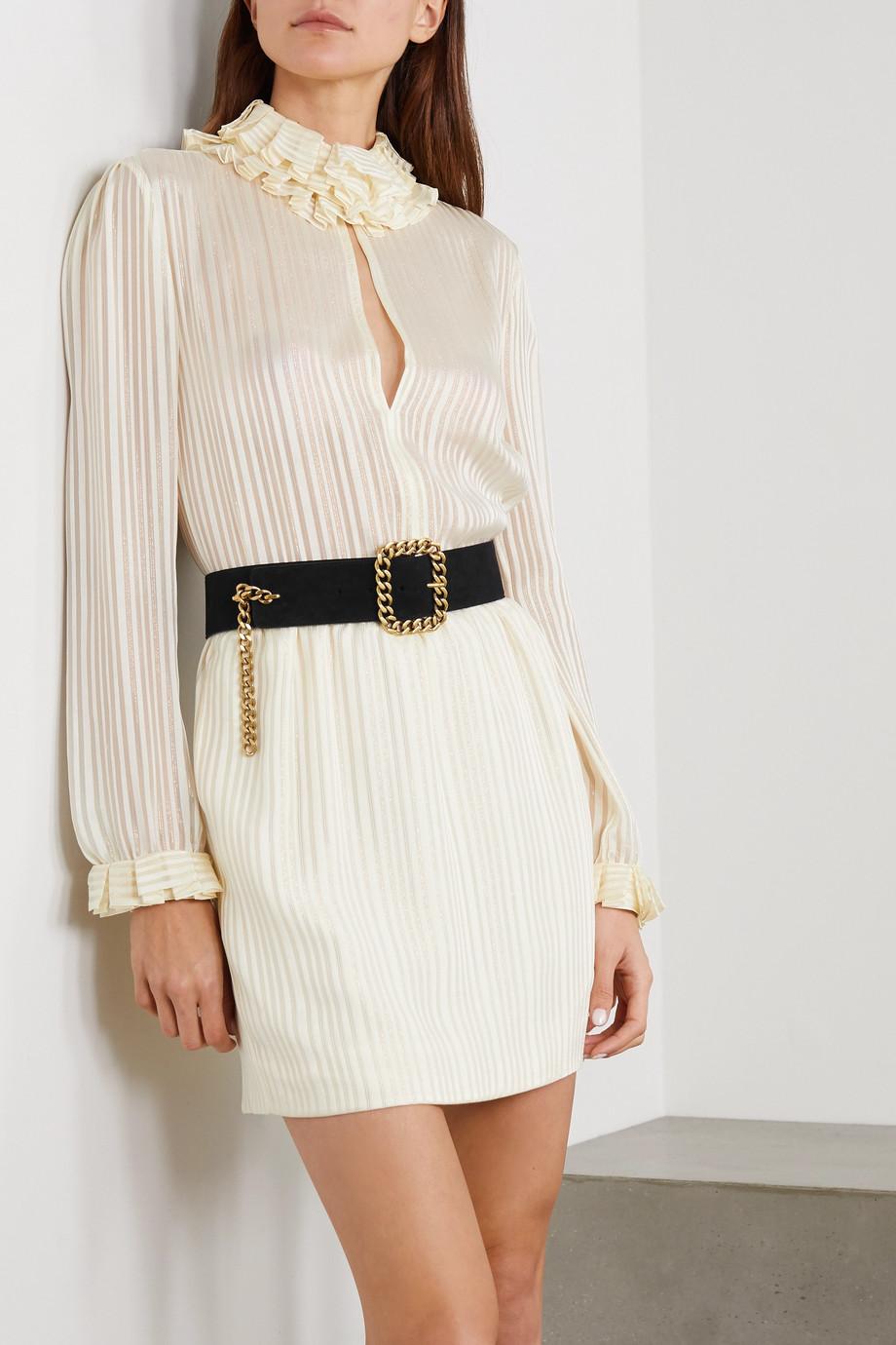 SAINT LAURENT Chain-embellished suede waist belt