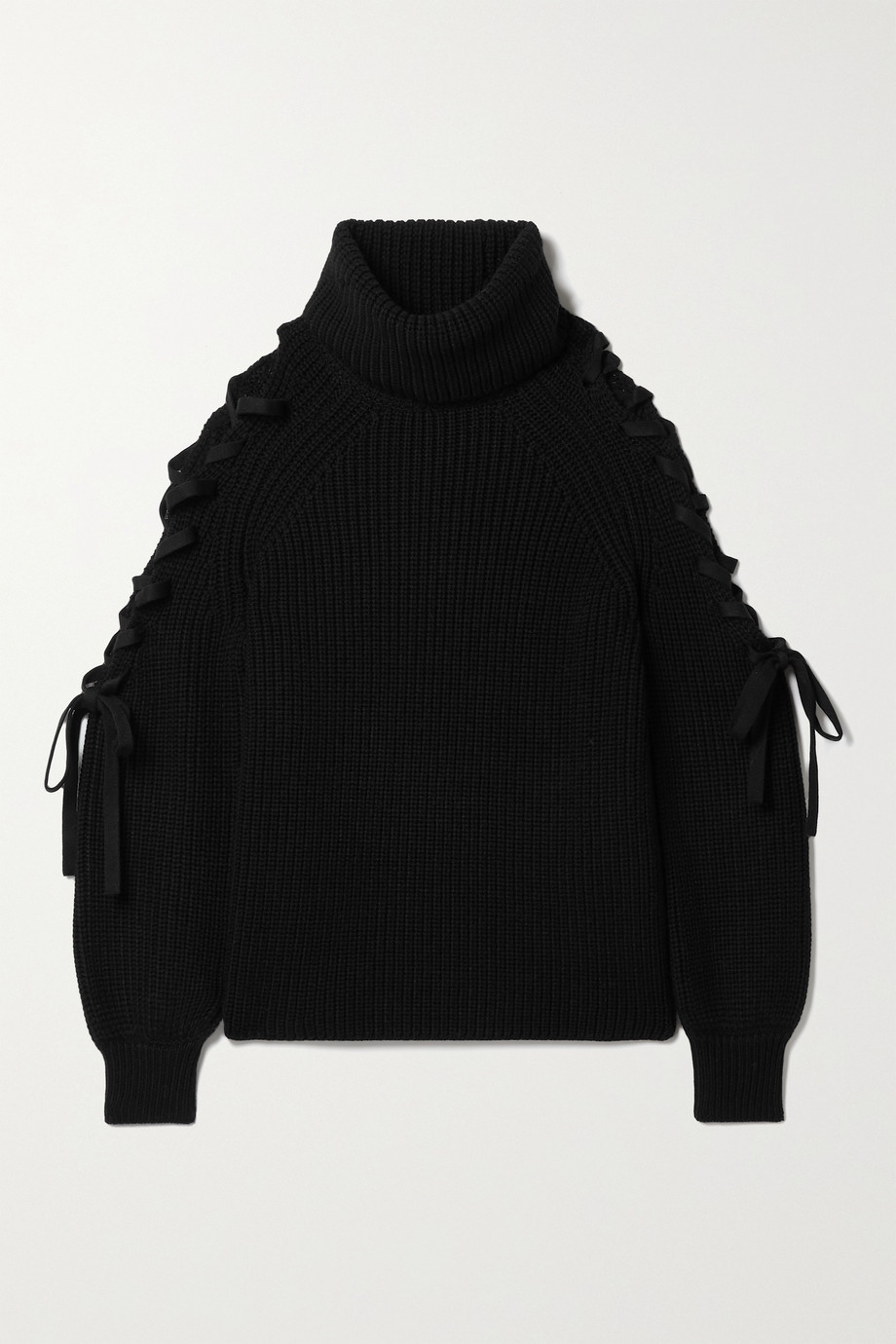 Alice + Olivia Lace-up ribbed wool-blend turtleneck sweater