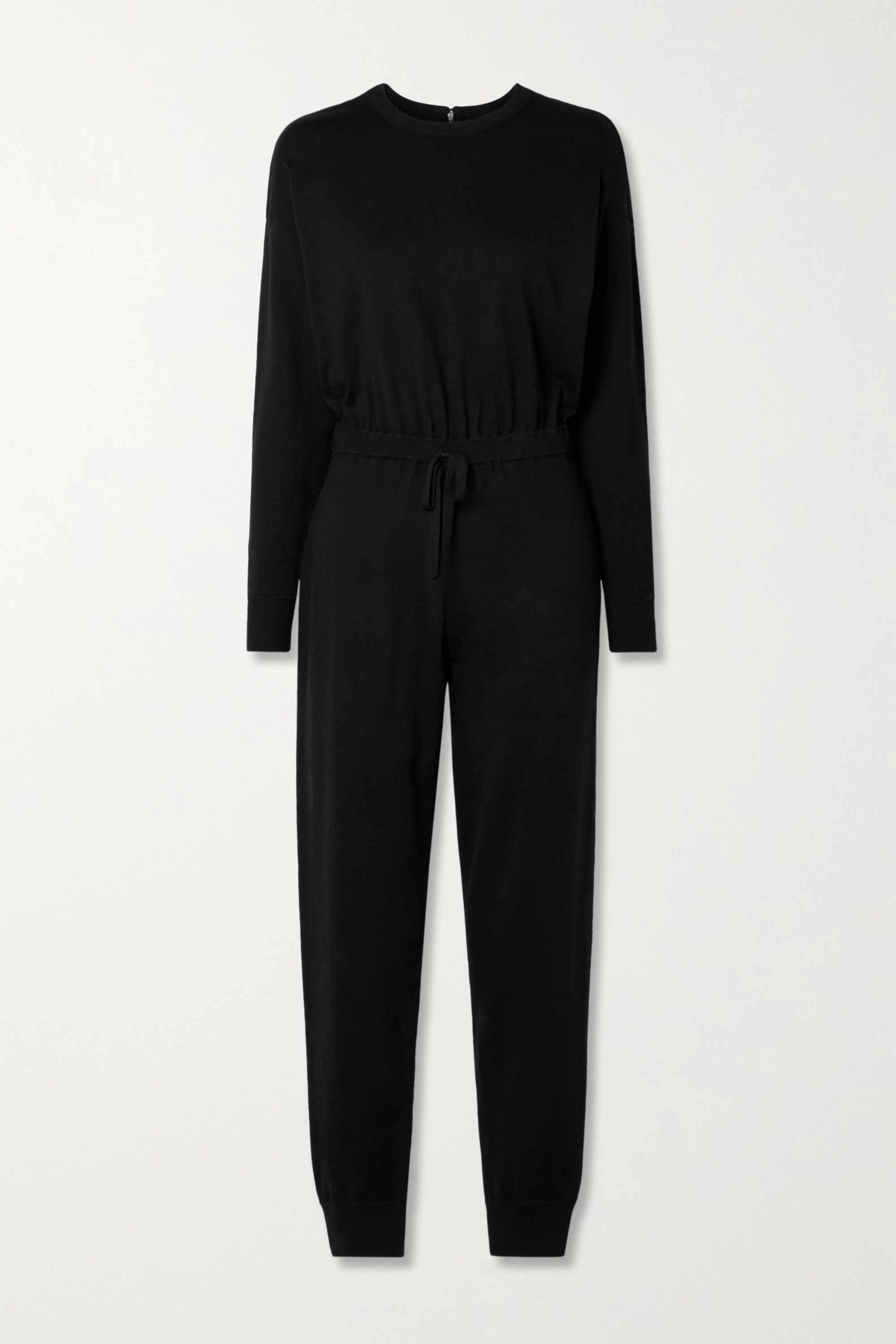 Alice And Olivia Nikita Wool-blend Jumpsuit In Black