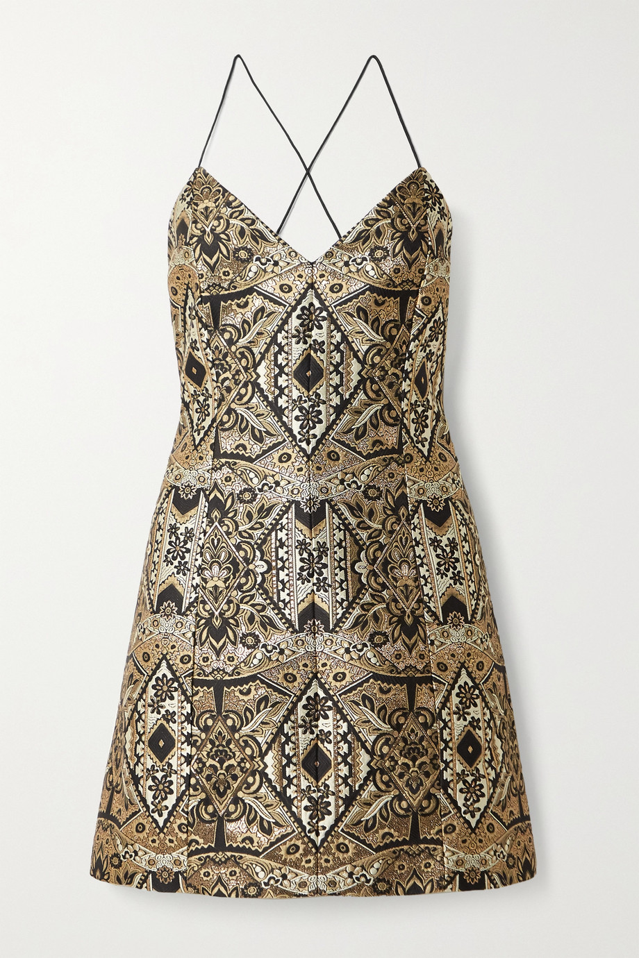 Alice + Olivia Tayla metallic brocade mini dress