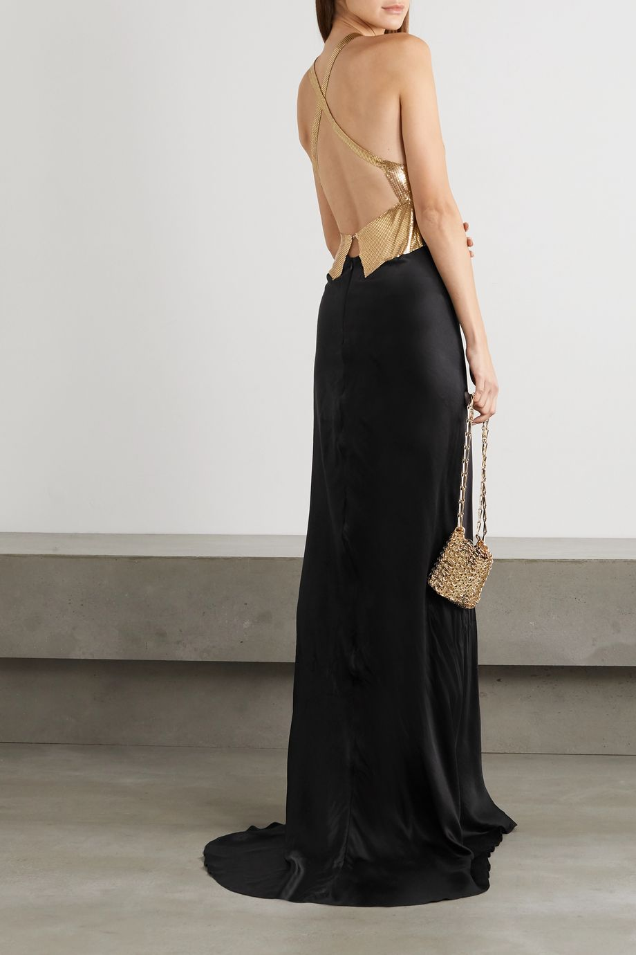 Fannie Schiavoni Eliza open-back chainmail and cotton and silk-blend gown