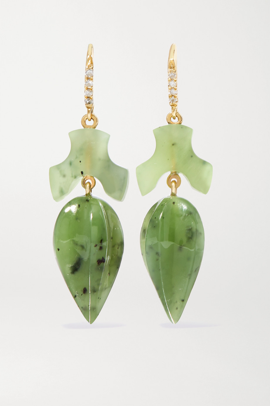 Sylva & Cie Acorn 18-karat gold, jade and diamond earrings
