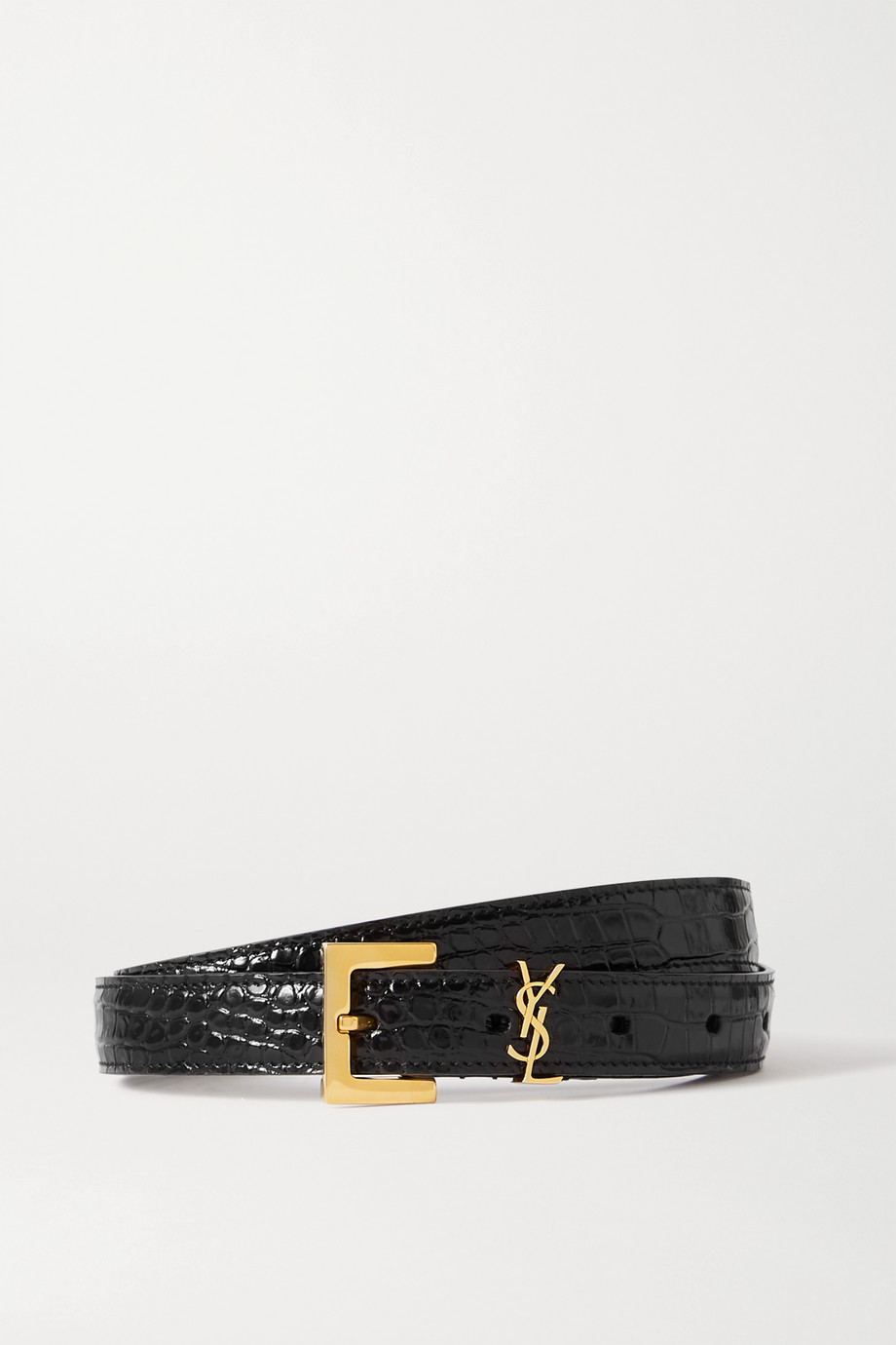 SAINT LAURENT Embellished croc-effect leather belt