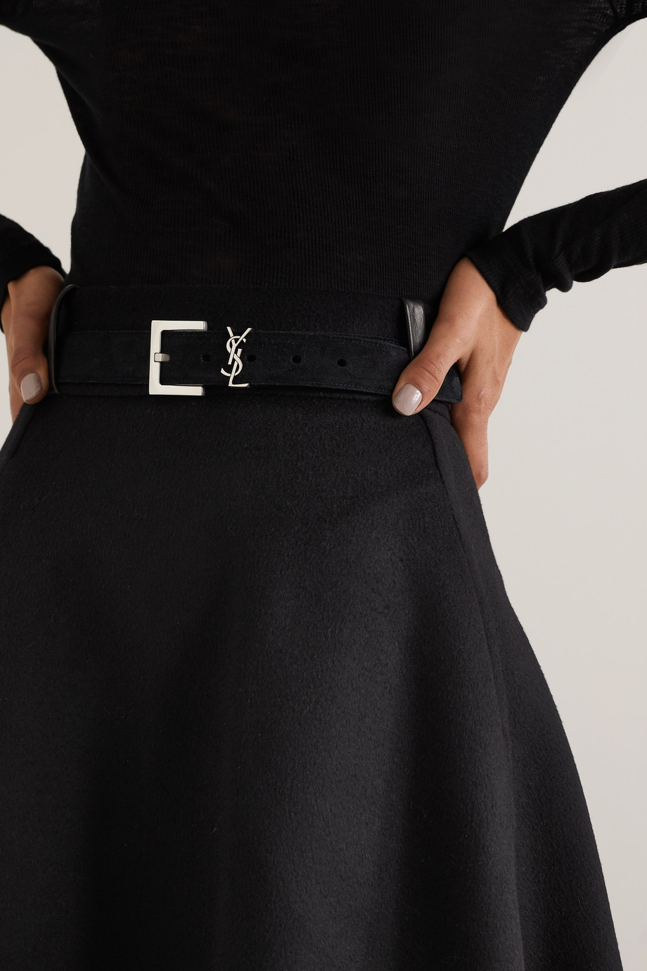 SAINT LAURENT Monogramme suede belt
