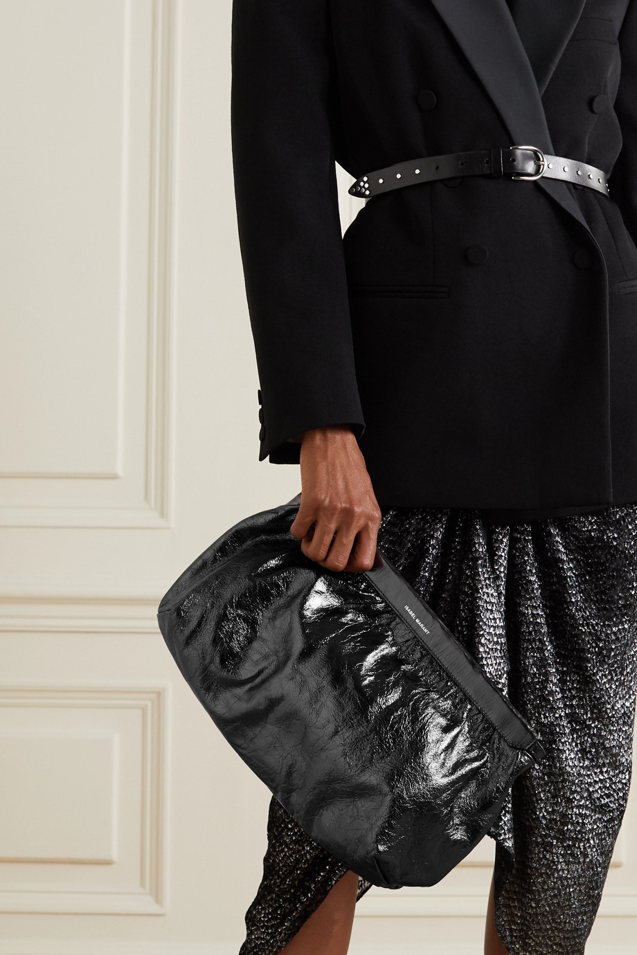 Isabel Marant Luz studded metallic crinkled-leather clutch