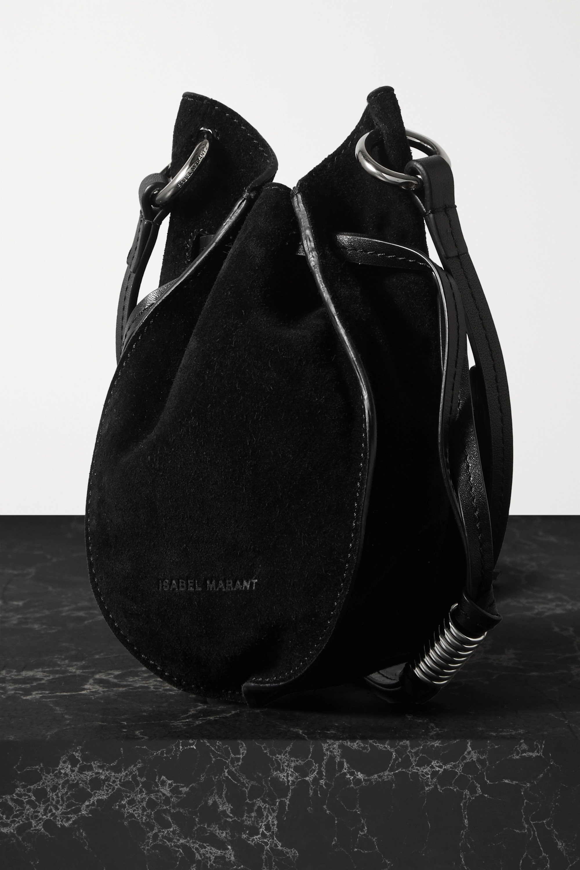 Isabel Marant Radji leather-trimmed crystal-embellished suede shoulder bag