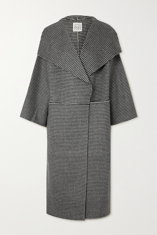 Totême Manteau en laine et cachemire mélangés pied-de-poule Signature